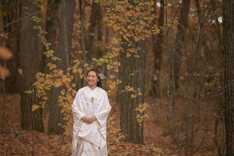 秋の軽井沢でのロケーション撮影の写真です